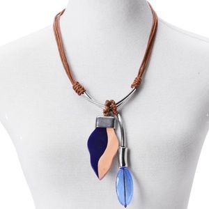 Jewelry - Blue Chroma, Wood Pendant Faux Leather Necklace